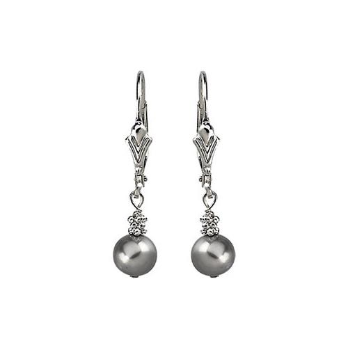 Sterling Silver 6mm Grey Pearl Lever Back Earrings
