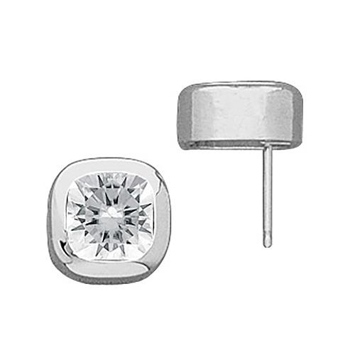 2.10 CT TW Moissanite Cushion Earrings 6mm