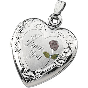 Sterling Silver 3/4in Tri-Color I Love You Locket