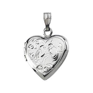9/16in Sterling Silver Heart Locket with Love Birds