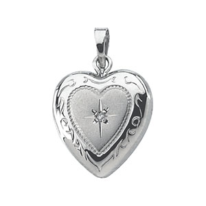 1/2in Steling Silver Diamond Heart Locket