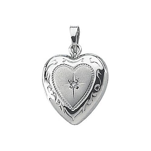 1/2in Steling Silver Diamond Heart Locket