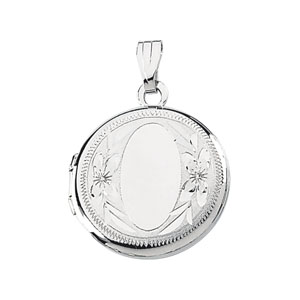 Sterling Silver 5/8in Round Floral Locket