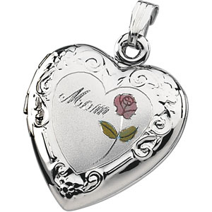 Sterling Silver 3/4in Mom Heart Locket with Rose
