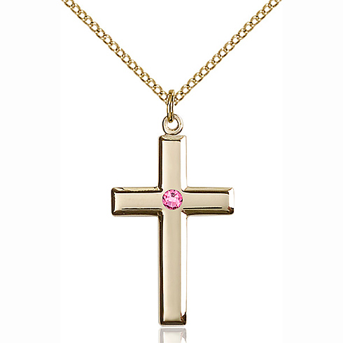 Gold Filled 1 1/8in Cross Pendant with 3mm Rose Bead & 18in Chain