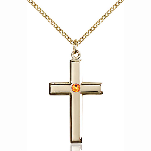 Gold Filled 1 1/8in Cross Pendant with 3mm Topaz Bead & 18in Chain