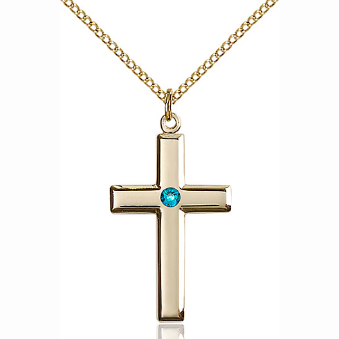 Gold Filled 1 1/8in Cross Pendant with 3mm Zircon Bead & 18in Chain