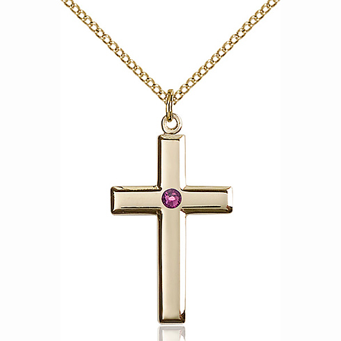Gold Filled 1 1/8in Cross Pendant with 3mm Amethyst Bead & 18in Chain