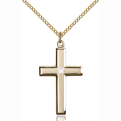Gold Filled 1 1/8in Cross Pendant with 3mm Crystal Bead & 18in Chain