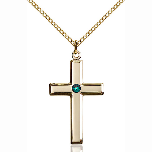 Gold Filled 1 1/8in Cross Pendant with 3mm Emerald Bead & 18in Chain
