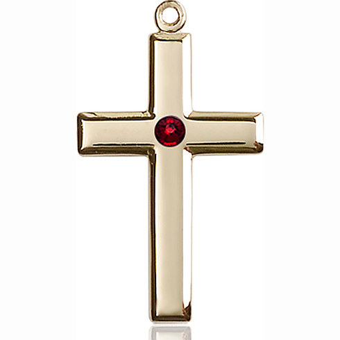14kt Yellow Gold 1 1/8in Cross Pendant with 3mm Garnet Bead