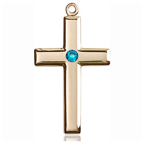 14kt Yellow Gold 1 1/8in Cross Pendant with 3mm Zircon Bead