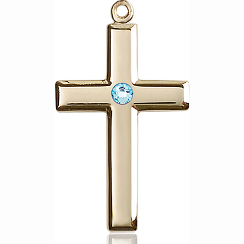 14kt Yellow Gold 1 1/8in Cross Pendant with 3mm Aqua Bead