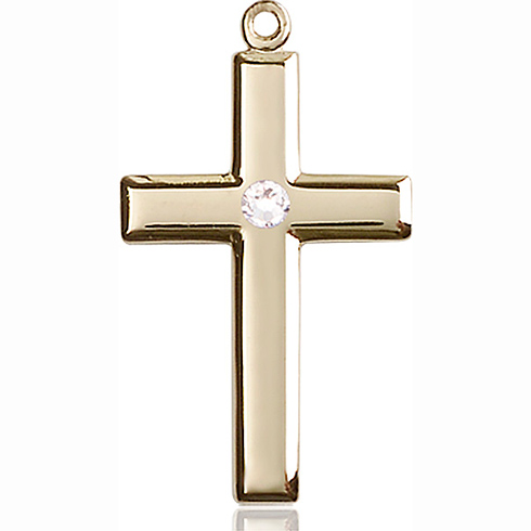 14kt Yellow Gold 1 1/8in Cross Pendant with 3mm Crystal Bead