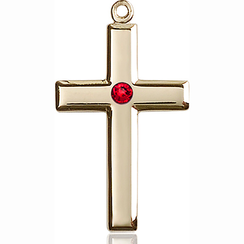 14kt Yellow Gold 1 1/8in Cross Pendant with 3mm Ruby Bead