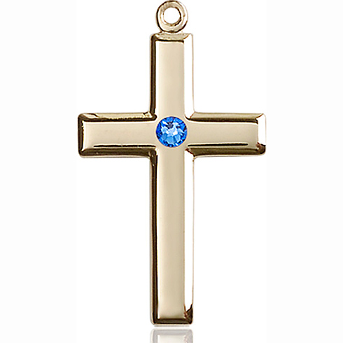14kt Yellow Gold 1 1/8in Cross Pendant with 3mm Sapphire Bead