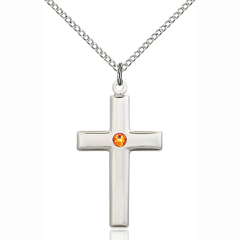 Sterling Silver 1 1/8in Cross Pendant with 3mm Topaz Bead & 18in Chain