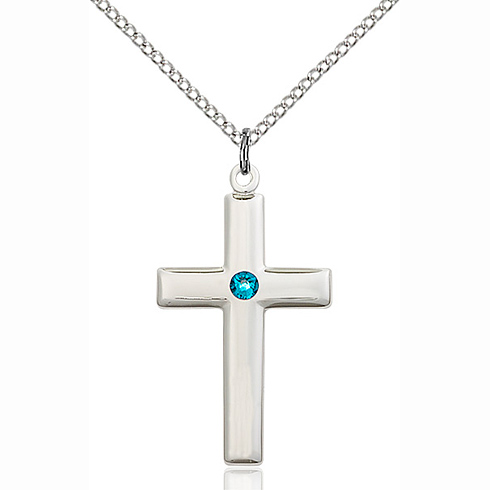 Sterling Silver 1 1/8in Cross Pendant with Zircon Bead & 18in Chain