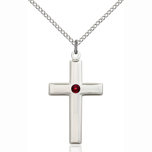 Sterling Silver 1 1/8in Cross Pendant with 3mm Garnet Bead & 18in Chain