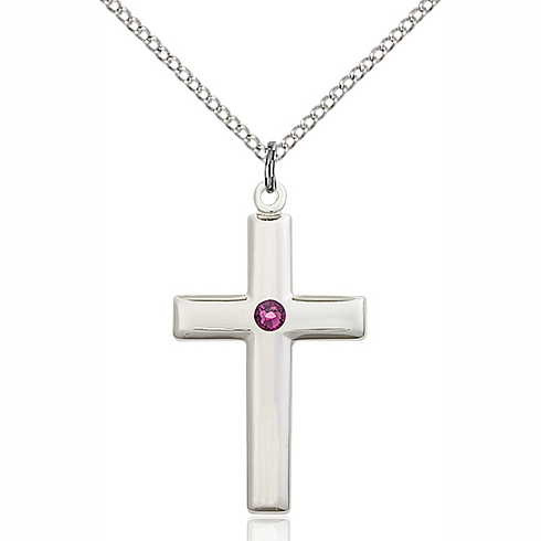 Sterling Silver 1 1/8in Cross Pendant with 3mm Amethyst Bead & 18in Chain