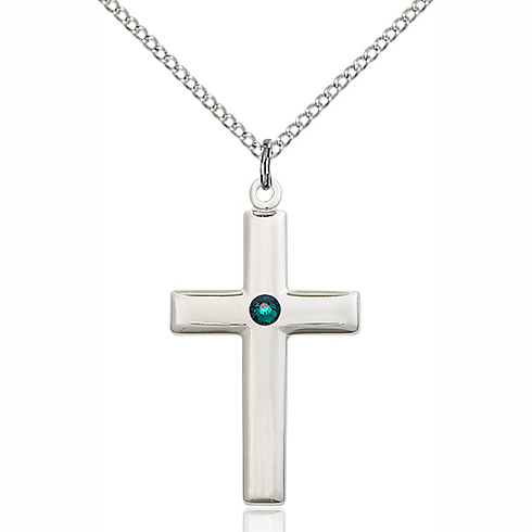 Sterling Silver 1 1/8in Cross Pendant with 3mm Emerald Bead & 18in Chain