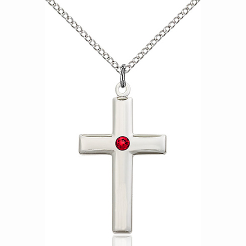 Sterling Silver 1 1/8in Cross Pendant with 3mm Ruby Bead & 18in Chain