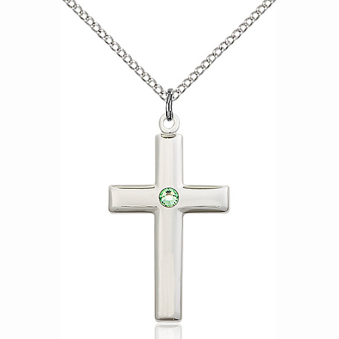Sterling Silver 1 1/8in Cross Pendant with 3mm Peridot Bead & 18in Chain