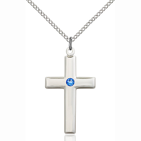 Sterling Silver 1 1/8in Cross Pendant with 3mm Sapphire Bead & 18in Chain