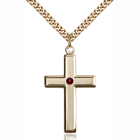Gold Filled 1 3/8in Cross Pendant with 3mm Garnet Bead & 24in Chain