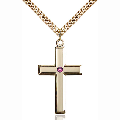 Gold Filled 1 3/8in Cross Pendant with 3mm Amethyst Bead & 24in Chain