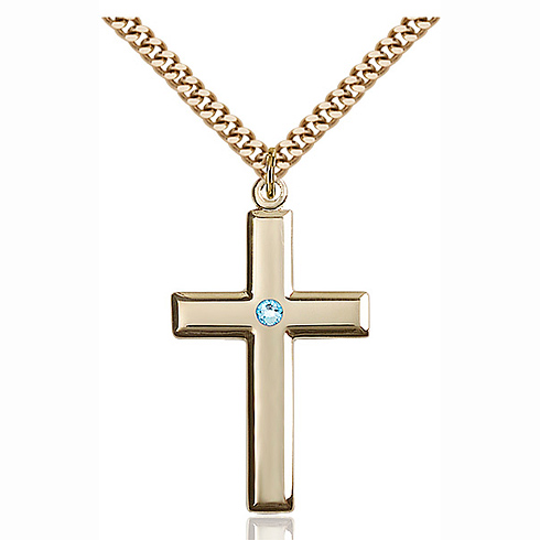 Gold Filled 1 3/8in Cross Pendant with 3mm Aqua Bead & 24in Chain