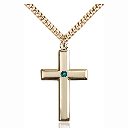 Gold Filled 1 3/8in Cross Pendant with 3mm Emerald Bead & 24in Chain