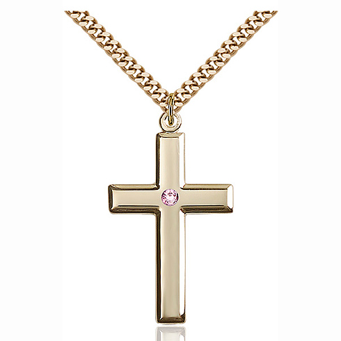 Gold Filled 1 3/8in Cross Pendant Light Amethyst Bead & 24in Chain