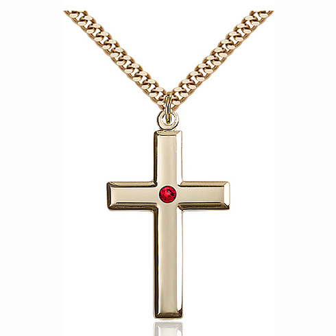 Gold Filled 1 3/8in Cross Pendant with 3mm Ruby Bead & 24in Chain