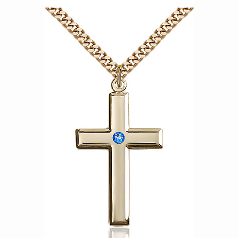 Gold Filled 1 3/8in Cross Pendant with 3mm Sapphire Bead & 24in Chain