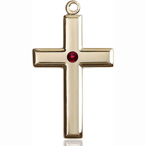 14kt Yellow Gold 1 3/8in Cross Pendant with 3mm Garnet Bead