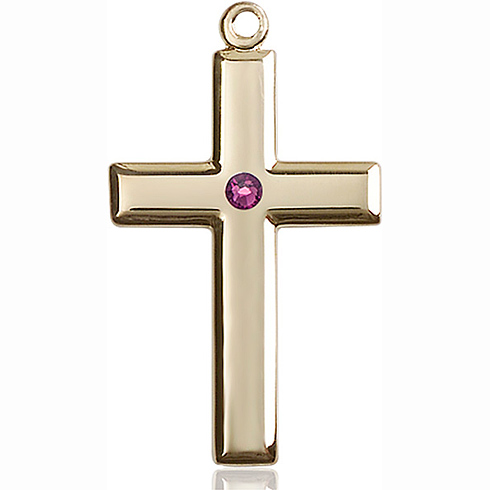 14kt Yellow Gold 1 3/8in Cross Pendant with 3mm Amethyst Bead