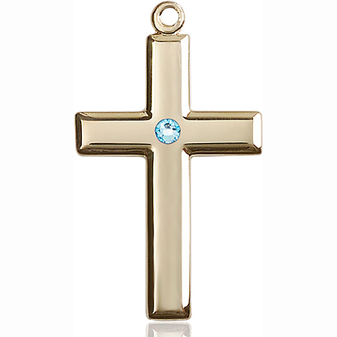 14kt Yellow Gold 1 3/8in Cross Pendant with 3mm Aqua Bead