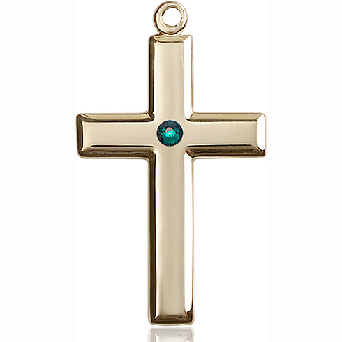 14kt Yellow Gold 1 3/8in Cross Pendant with 3mm Emerald Bead
