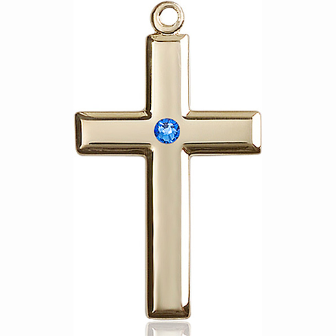 14kt Yellow Gold 1 3/8in Cross Pendant with 3mm Sapphire Bead