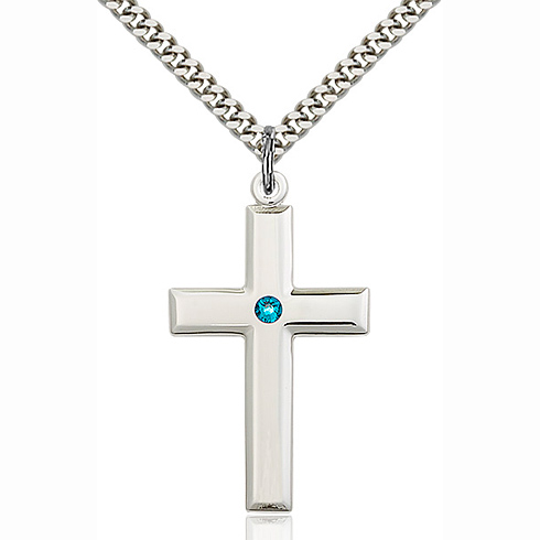 Sterling Silver 1 3/8in Cross Pendant with 3mm Zircon Bead & 24in Chain