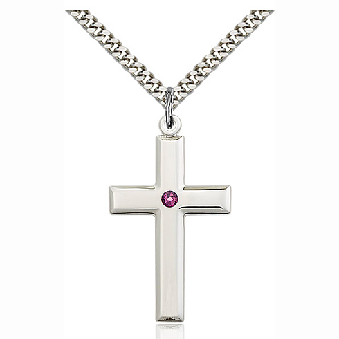 Sterling Silver 1 3/8in Cross Pendant with 3mm Amethyst Bead & 24in Chain