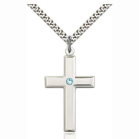 Sterling Silver 1 3/8in Cross Pendant with 3mm Aqua Bead & 24in Chain