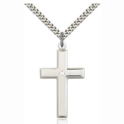 Sterling Silver 1 3/8in Cross Pendant with 3mm Crystal Bead & 24in Chain
