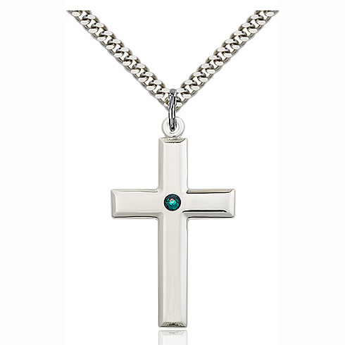 Sterling Silver 1 3/8in Cross Pendant with 3mm Emerald Bead & 24in Chain