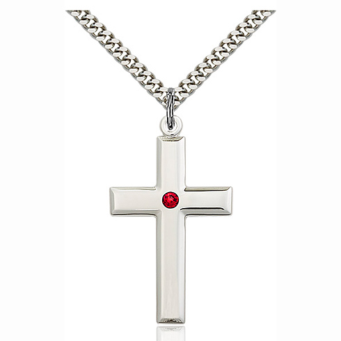 Sterling Silver 1 3/8in Cross Pendant with 3mm Ruby Bead & 24in Chain