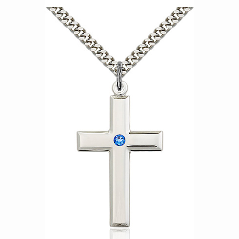 Sterling Silver 1 3/8in Cross Pendant with 3mm Sapphire Bead & 24in Chain