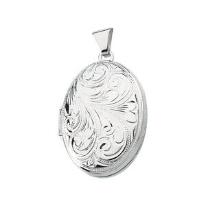 1in Sterling Silver Floral Oval Locket