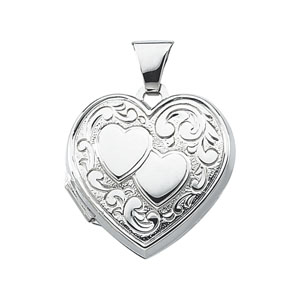 Heart Locket 3/4in - Sterling Silver