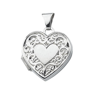 5/8in Sterling Silver  Heart Locket with Polished Center
